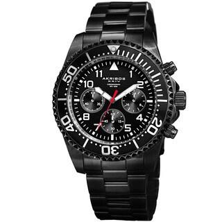 Akribos XXIV Men's Quartz Chronograph Black Stainless Steel Bracelet Watch