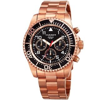 Akribos XXIV Men's Quartz Chronograph Rose-Tone Stainless Steel Bracelet Watch