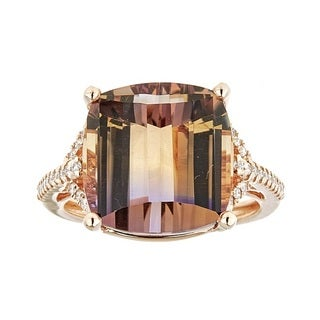 Anika and August 14k Rose Gold Cushion-cut Ametrine and Diamond Ring