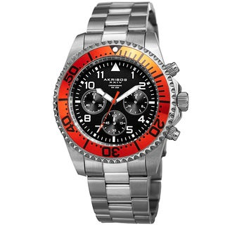 Akribos XXIV Men's Quartz Chronograph Silver-Tone/Orange Stainless Steel Bracelet Watch