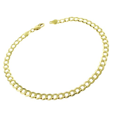 "Authentic 14k Yellow Gold 4.5mm Solid Cuban Curb Link Bracelet Chain 8.5"", Men & Women, In Style Designz"