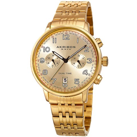 Akribos XXIV Men's Quartz Dual Time Easy-to-Read Stainless Steel Gold-Tone Bracelet Watch