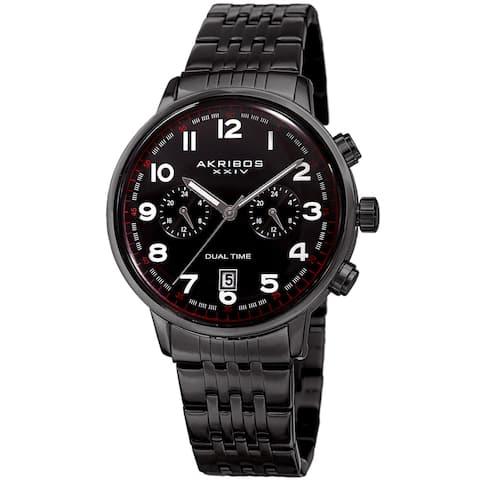 Akribos XXIV Men's Quartz Dual Time Easy-to-Read Stainless Steel Black Bracelet Watch