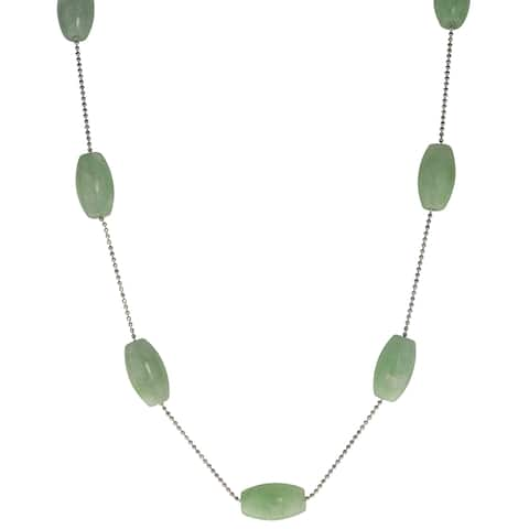 Gems For You Sterling Silver 18-inch Jade Bead Station Necklace