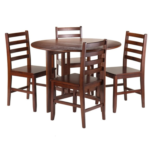 winsome brown wood 5 piecee alamo round drop leaf dining table with 4