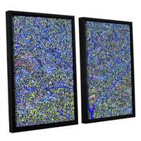 Ken Skehan's 'Natural Abstract Bush Foliage number 2' 2-Piece Floater Framed Canvas Set - Blue