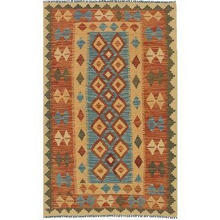 eCarpetGallery Blue/Multicolor Wool Handwoven Anatolian Kilim Rug (3'0 x 5'2)