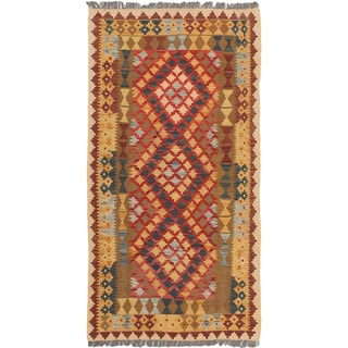 eCarpetGallery Brown/Red Wool Handwoven Anatolian Kilim Rug (3'5 x 6'7)
