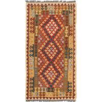 eCarpetGallery Brown/Red Wool Handwoven Anatolian Kilim Rug - 3'5 x 6'7