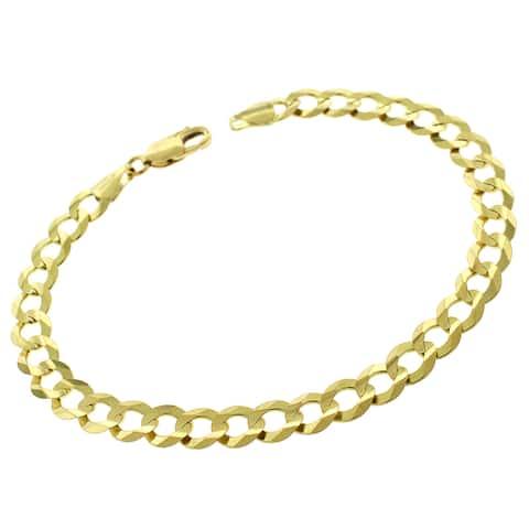 "14K Yellow Gold 7MM Solid Cuban Curb Link Bracelet Chain 8.5"", Gold Bracelet for Men & Women, 100% Real 14K Gold"