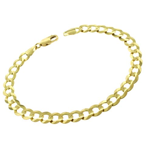 "Authentic 14k Yellow Gold 7mm Solid Cuban Curb Link Bracelet Chain 8"", 8.5"", 9"", Men & Women, In Style Designz"