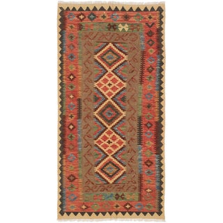 ecarpetgallery Camel/Copper/Black/Brown/Gold/Green Cotton/Wool Geometric Kilim Rug (3'3 x 6'6)