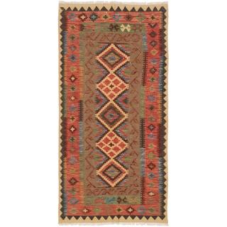 ecarpetgallery Camel/Copper/Black/Brown/Gold/Green Cotton/Wool Geometric Kilim Rug (3'3 x 6'6)