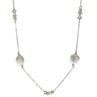 Pearls For You Sterling Silver White Baroque Freshwater Pearl Brilliance 36-inch Bead Necklace