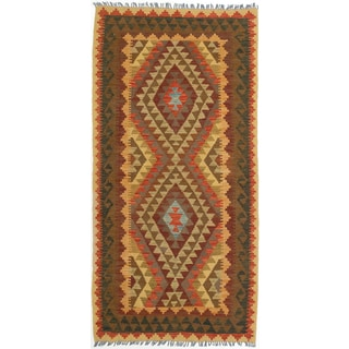 eCarpetGallery Hand-woven Anatolian Kilim Brown/Red Wool Rug (3'2 x 6'5)