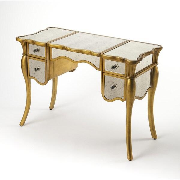 Butler Isabella Gold Leaf-trimmed Wood/ Glass Vanity