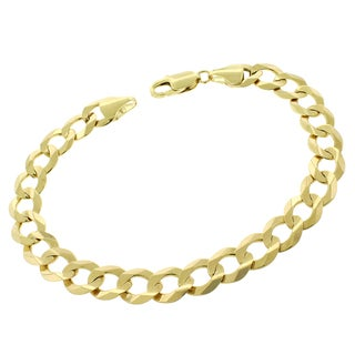 14k Gold 9.5mm Solid Cuban Curb Link Bracelet