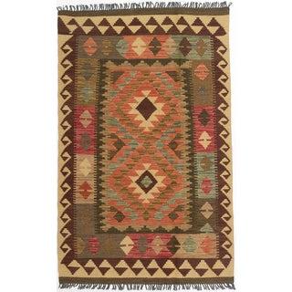eCarpetGallery Pink/Camel/Brown/Grey/Green/Yellow/Red Wool Geometric Flatweave Anatolian Kilim Rug (3'3 x 5'1)