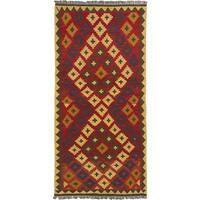 Ecarpetgallery Handwoven Red/Yellow Wool Kashkoli Kilim (3'2 x 6'7)