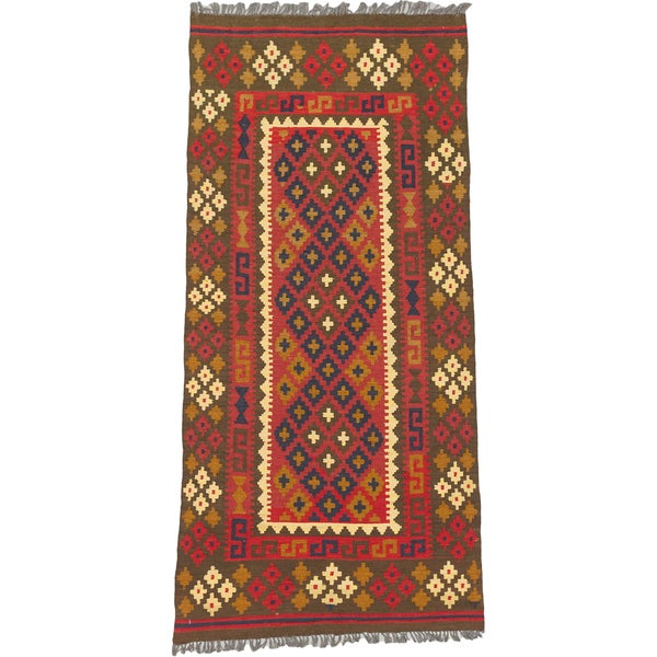 eCarpetGallery Hand-woven Brown/Red Wool Kashkoli Kilim (3'3 x 6'9)