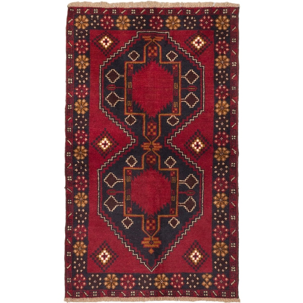 ecarpetgallery Hand-knotted Kazak Blue, Red Wool Rug (3'7 x 6'0)