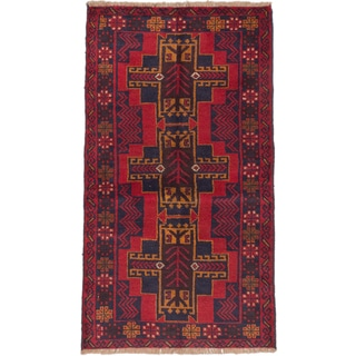 eCarpetGallery Blue/Red Wool Hand-knotted Kazak Rug (3'7 x 6'2)