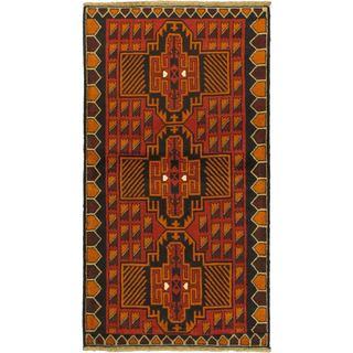 ecarpetgallery Kazak Red/Navy/Orange/Cream/Light Brown Wool Hand-Knotted Rug (3' 6 x 6' 5)