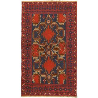 ecarpetgallery Hand-Knotted Kazak Red Wool Rug (3'5 x 6'0)