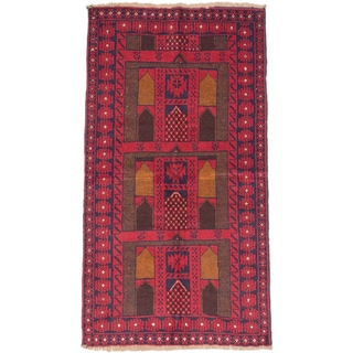 ecarpetgallery Hand-Knotted Baluch Red Wool Rug (3'3 x 5'11)