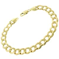"""14k Yellow Gold 10mm Solid Cuban Curb Link Bracelet Chain 8.5"""", 8.75"""""""