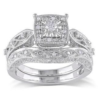 Miadora Sterling Silver 1/5ct TDW Diamond Filigree Bridal Ring Set (G-H, I2-I3) Size 4.5(As Is Item)