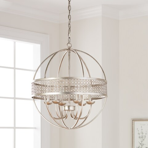 I Love Living Victoria Orb 6-Light Distressed Silver Chandelier