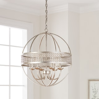Victoria Orb 6-Light Distressed Silver Chandelier