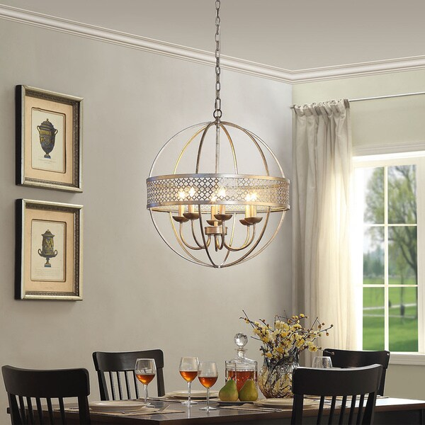Victoria Orb 6 Light Distressed Silver Chandelier