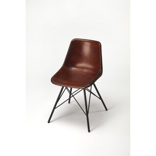 Handmade Butler Inland Brown Leather Side Chair (India)
