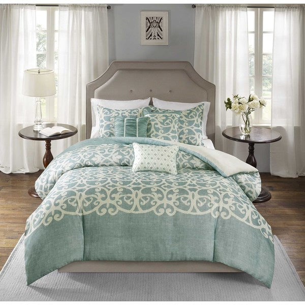 Madison Park Novella Blue 6 Piece Duvet Cover Set Free