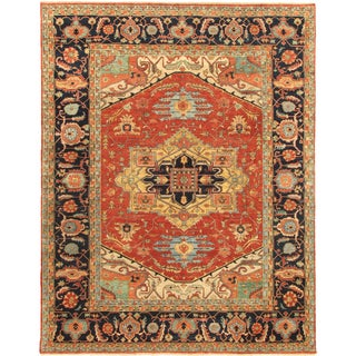 Antique Serapi Heriz Pasargad Rust Wool Floral Hand-knotted Area Rug (6' x 12')
