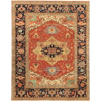 Antique Serapi Heriz Pasargad Rust Wool Floral Hand-knotted Area Rug (6' x 12') - 6' x 12'