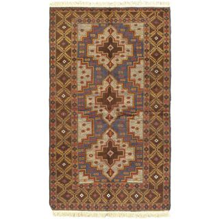eCarpetGallery Hand-knotted Blue Wool Finest Rizbaft Rug (3'7 x 6')