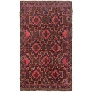 eCarpetGallery Hand-knotted Pink/Red Wool Royal Balouch Rug (3'9 x 6'4)