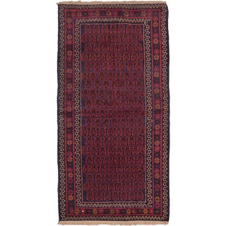 eCarpetGallery Hand-knotted Herati Blue/Red Wool Rug (3'4 x 6'4)