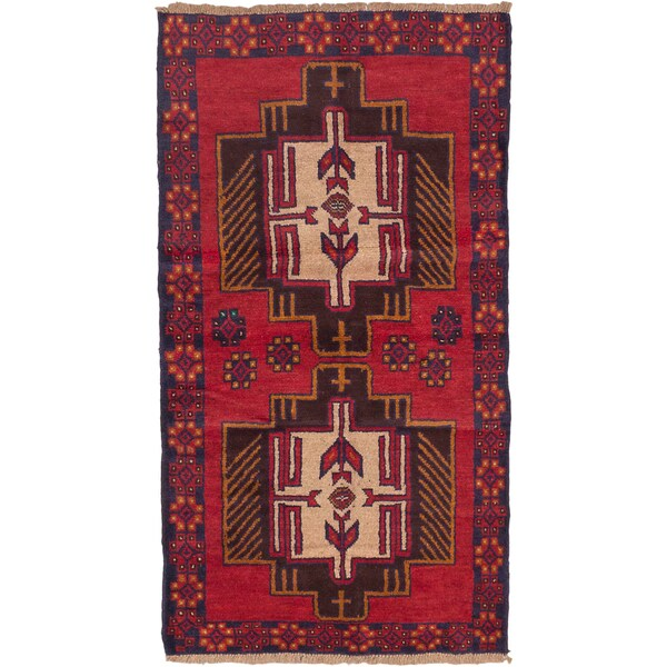 eCarpetGallery Hand-knotted Bahor Red Wool Rug (3'6 x 6'2)