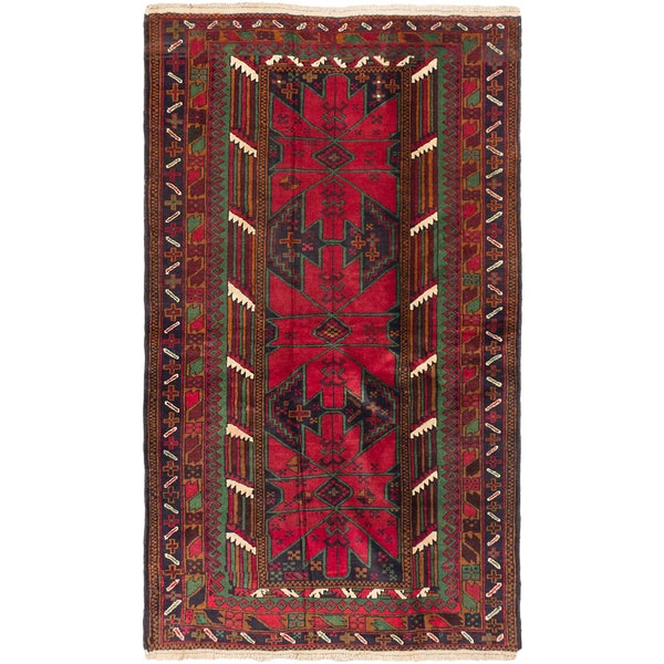 ecarpetgallery Royal Baluch Red Wool Hand-knotted Rug (3'9 x 6'5)