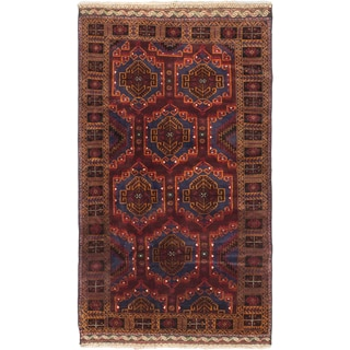Ecarpetgallery Royal Balouch Red/Dark Red/Navy/Cream/Light Brown Wool Hand-Knotted Rug (4' x 6'6)