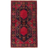 eCarpetGallery Hand-knotted Kazak Blue/Red Wool Rug (3'6 x 6')