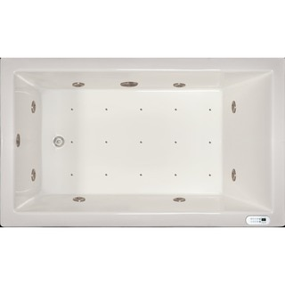 Signature Bath White Acrylic Drop In Whirlpool Combo Tub With LED Lighting  And Waterfall