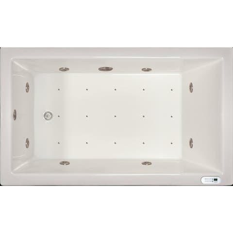 Signature Bath White Acrylic Drop-in Whirlpool Combo Tub with LED Lighting and Waterfall