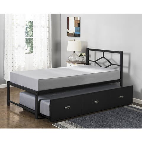 K&B Black Metal Twin-size Bed With Trundle Bed