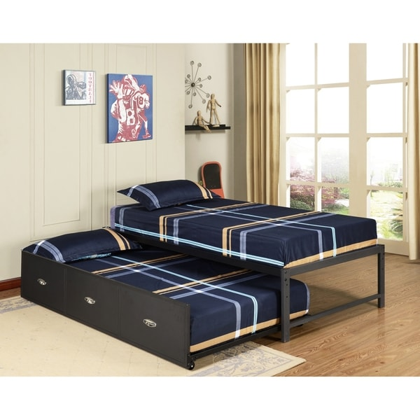 shop k b b39 124 metal twin size day bed frame with trundle bed free shipping today. Black Bedroom Furniture Sets. Home Design Ideas