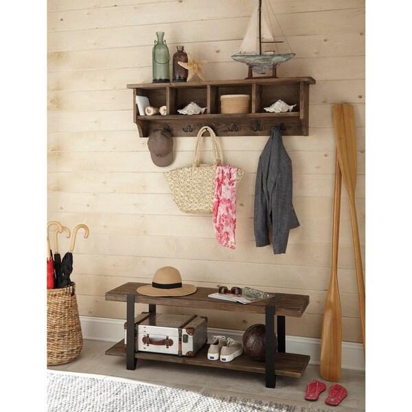 Carbon Loft Kenyon 48 Inch Metal And Reclaimed Wood Storage Coat Hook Shelf Bench